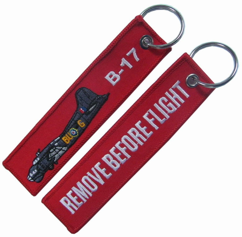 B-17 Remove Before Flight PMS Color Embroidered Key Chain